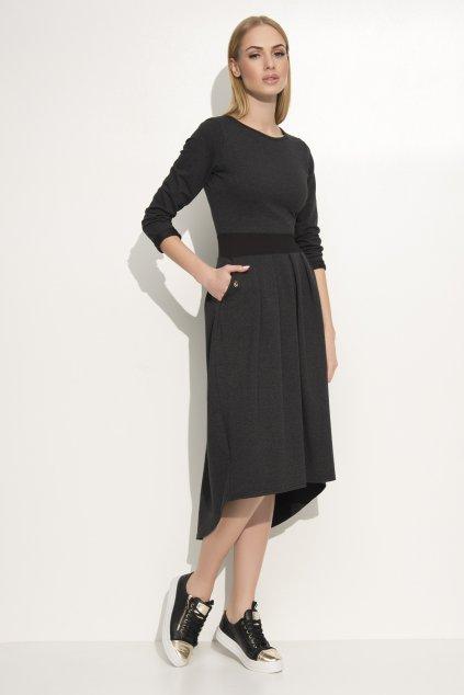 Dámské volnočasové šaty s volnou sukní grafitové - Šedá / 3XL - Makadamia