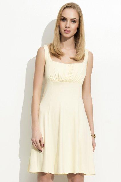 Dámské šaty na ramínka zdobené řasením žluté - Žlutá / S - Folly