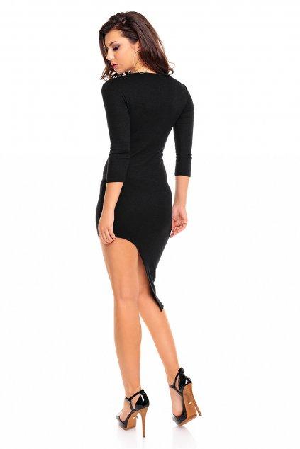 Dámské společenské asymetrické šaty černé - Černá / M - Aikha