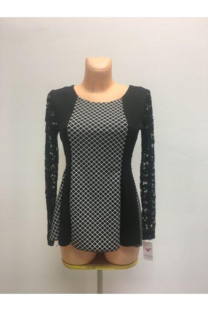 Dámský top - tričko s květinovými rukávy dlouhý rukáv černobílé - Černo-bílá / UNI - OEM