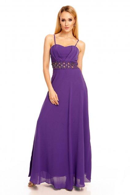 Dámské společenské šaty s korálky v pase dlouhé fialové - Fialová / S - EMMA DORE PARIS