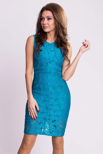 Dámské krajkové šaty EMAMODA modré - Modrá / S - EMAMODA