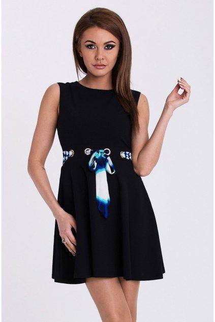 EMAMODA dámské šaty bez rukávů černé - Černá / S - YNS