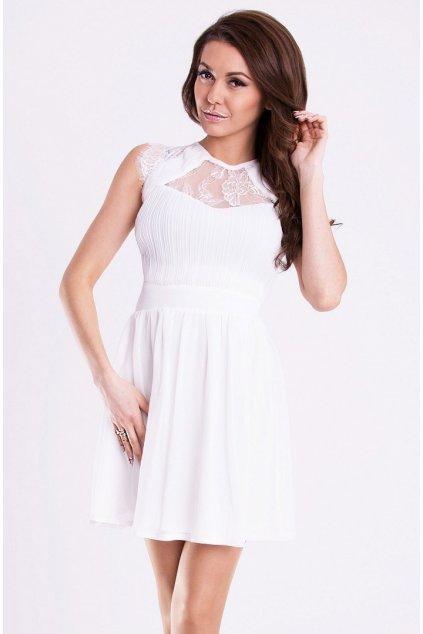 Dámské společenské šaty s rozšířenou sukní EMAMODA bílé - Bílá / S - YNS