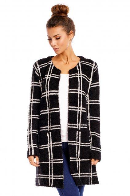 Dámský svetr cardigan dlouhý černo-bílý - Černo-bílá / S/M - LUXESTAR