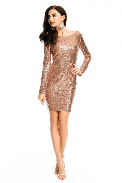 Společenské šaty MAYAADI flitrové s dlouhým rukávem krátké bronzové - Hnědá / XL - MAYAADI