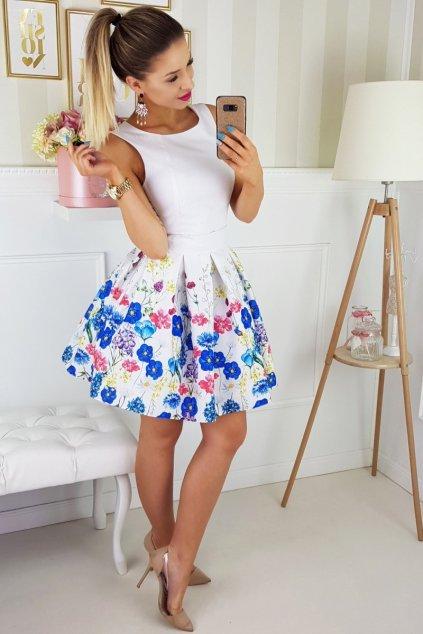 Dámské společenské šaty bez rukávů se skládanou sukní a páskem bílé - Bílá / 40 - Bicotone