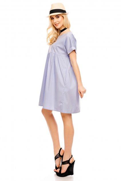 Dámské šaty volného střihu středně dlouhé světle modré - Modrá / UNI - Pronto Moda