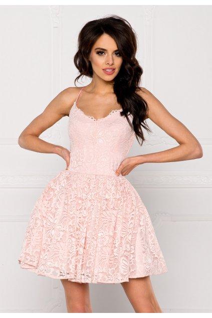 Společenské dámské šaty na ramínka krajkové s kolovou sukní růžové - Růžová / L - Sherri