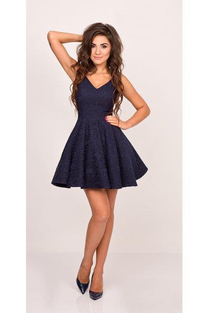Společenské dámské šaty na ramínka s kolovou sukní tmavě modré - Tmavě modrá / XS - Sherri