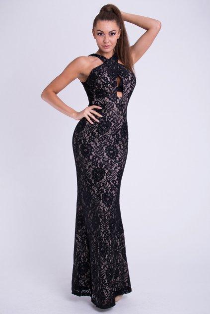 Dámské značkové dlouhé plesové společenské šaty EVA & LOLA černé - Černá / L - EMAMODA