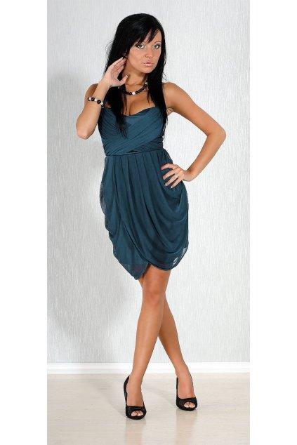 Společenské a plesové šaty FIONELLA středně dlouhé modré - Tmavě modrá / L - FIONELLA