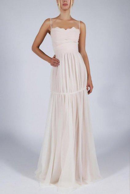 Dámské šaty SOKY SOKA na ramínka s šifonovou sukní dlouhé smetanově bílé - Bílá / XL - SOKY&SOKA