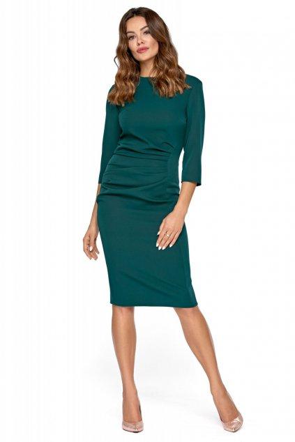 Dámské společenské šaty s 3/4 rukávem středně dlouhé tmavě zelené - Zelená / 36 - Kartes Moda
