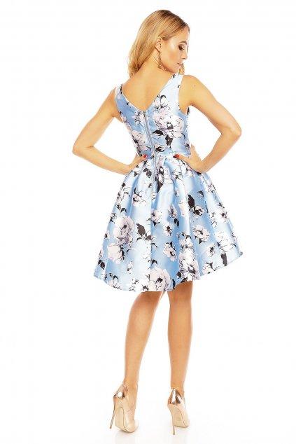 Dámské šaty bez rukávů s potiskem květin středně dlouhé modré - Modrá / L - Showny