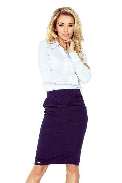 Dámská jednoduchá sukně s jemným řasením středně dlouhá tmavě modrá - Tmavě modrá / S - Morimia
