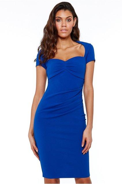 Středně dlouhé šaty s krátkým rukávem a výstřihem modré - Modrá / S - CityGoddes