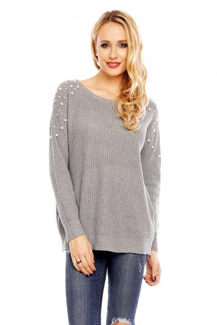 Dámský svetr s ozdobnými perličkami šedý - Šedá / UNI - House Style