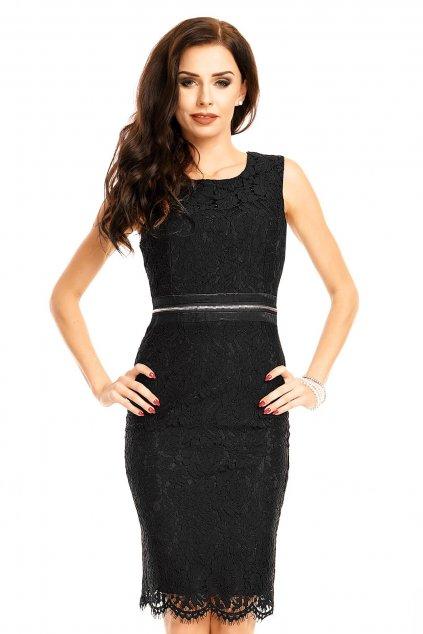 Krajkové dámské šaty bez rukávů středně dlouhé černé - Černá / XL - MAYAADI
