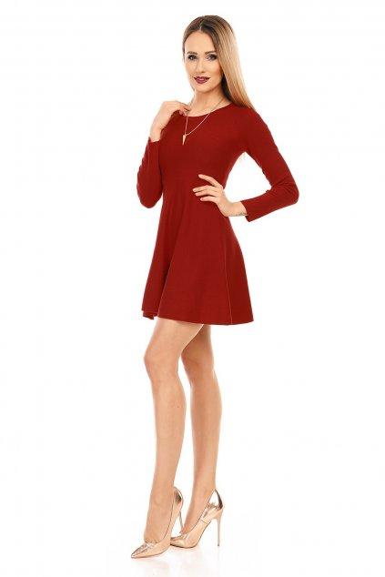 Dámské šaty s dlouhým rukávem a kolovou sukní bordó - Bordó / UNI - Moody's