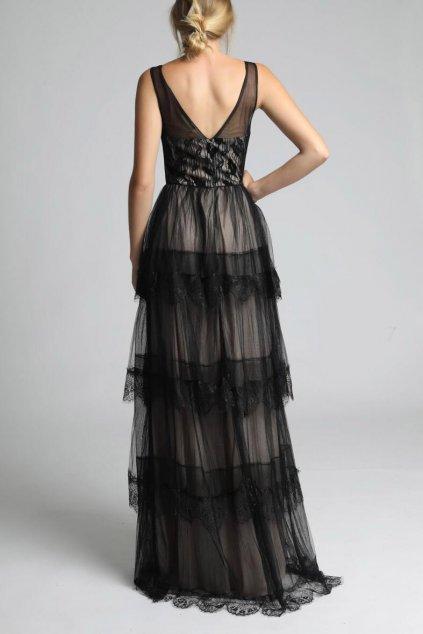 Dámské plesové šaty SOKY SOKA s výstřihem do V a volánky béžovo-černé dlouhé - Černo-bílá / L - SOKY&SOKA