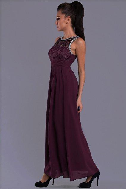 Dámské společenské šaty EVA LOLA s krajkou a kamínky dlouhé tmavě modrá