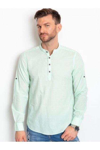 Pánská košile se stojatým límcem KS-0111 - FPrice