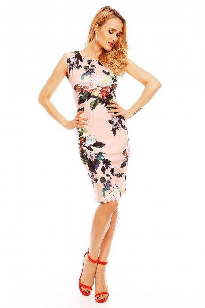Společenské a párty šaty vypasované bez rukávu květované světle růžové - Růžová / M/L - House Style