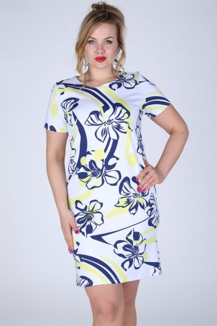 Dámské šaty i pro plnoštíhlé s květinovým vzorem modro-žluté - Žlutá - Efect