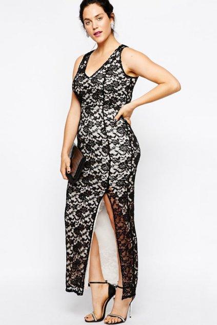 Společenské šaty pro plnoštíhlé krajkové MARGAUX dlouhé černé - Černo-bílá / XL - OEM