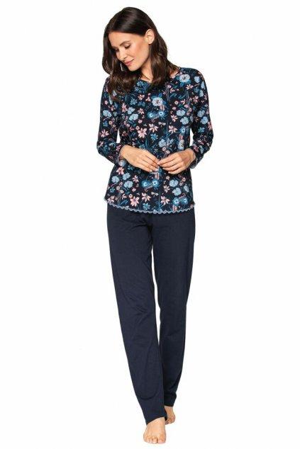 Luxusní dámské pyžamo Della tmavě modré s květy