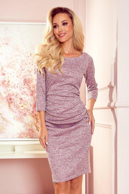 Dámské svetříkové šaty ve špinavě růžové melanžové barvě 59-11