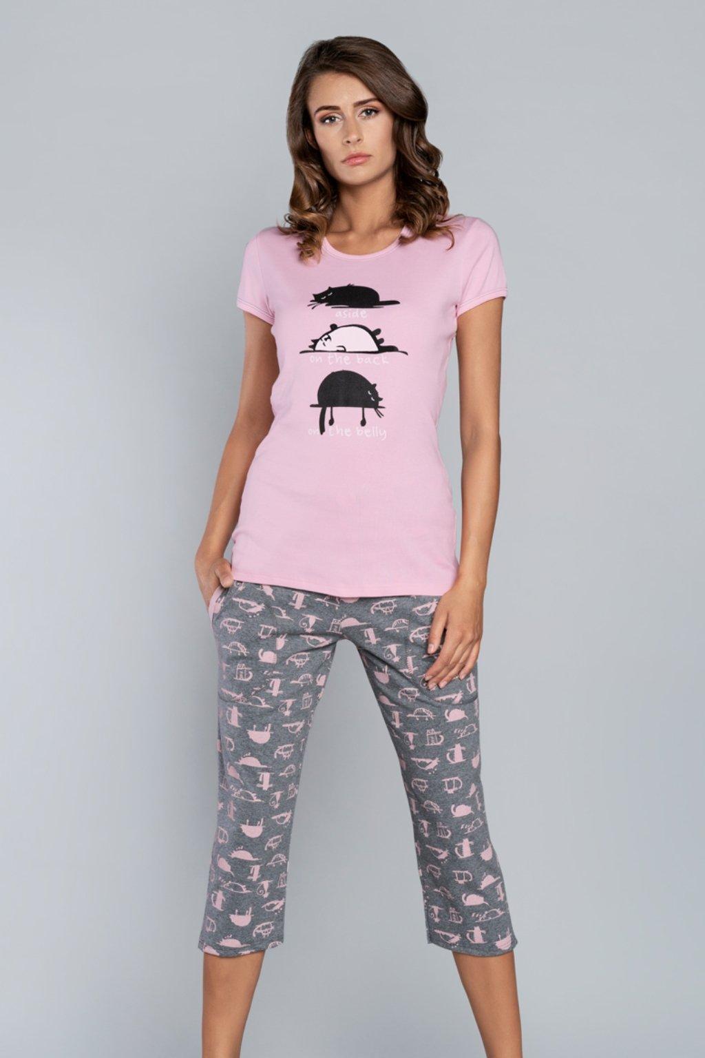 Dámské pyžamo Italian Fashion Dima 3/4 růžová