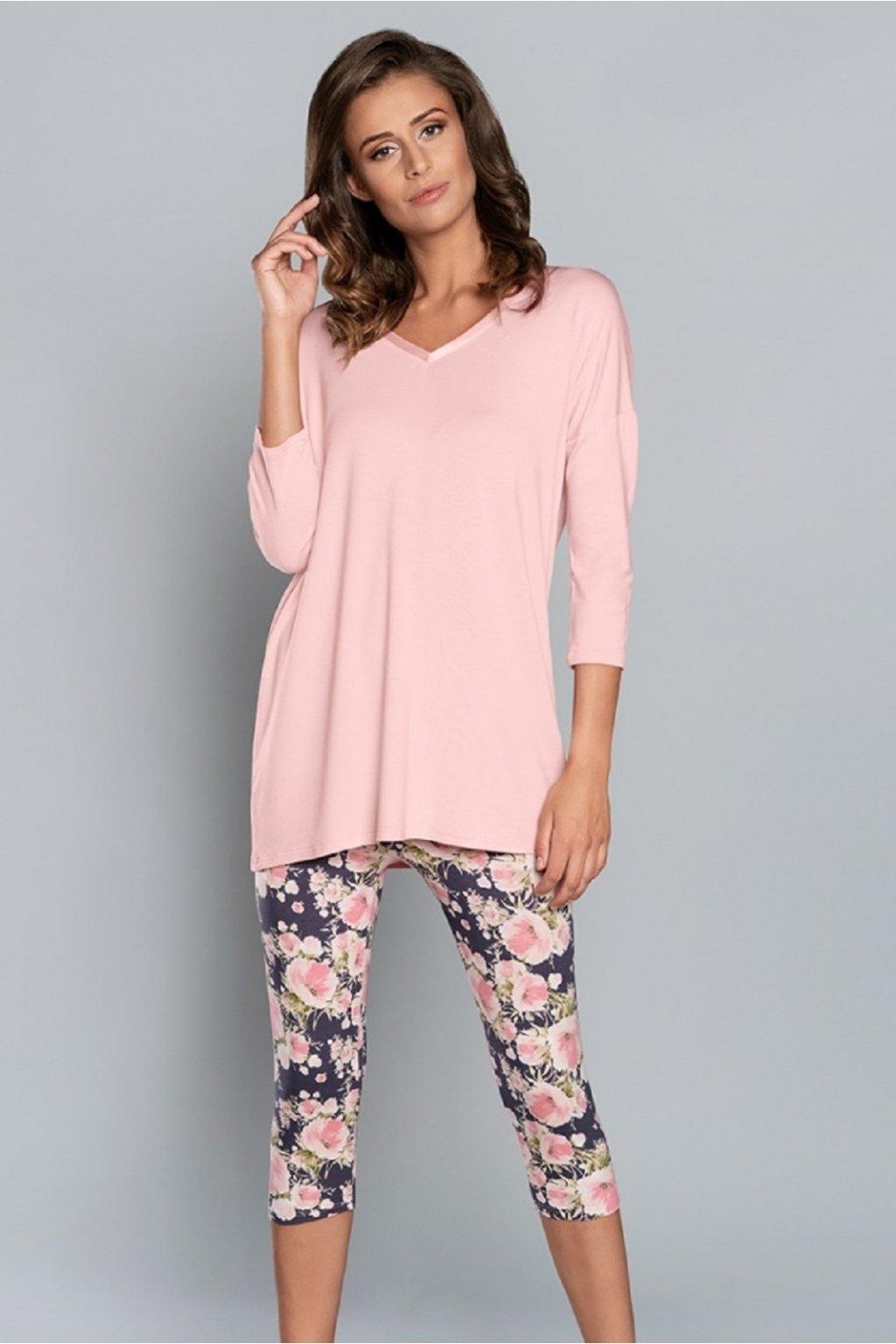 Dámské pyžamo Italian Fashion Kalisja 3/4 pudr