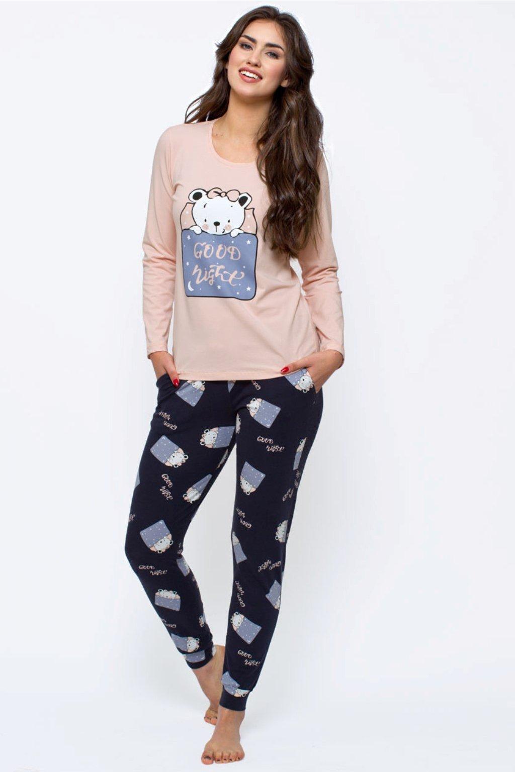 Dámské bavlněné pyžamo s dlouhým rukávem Leptir 154/04 růžové