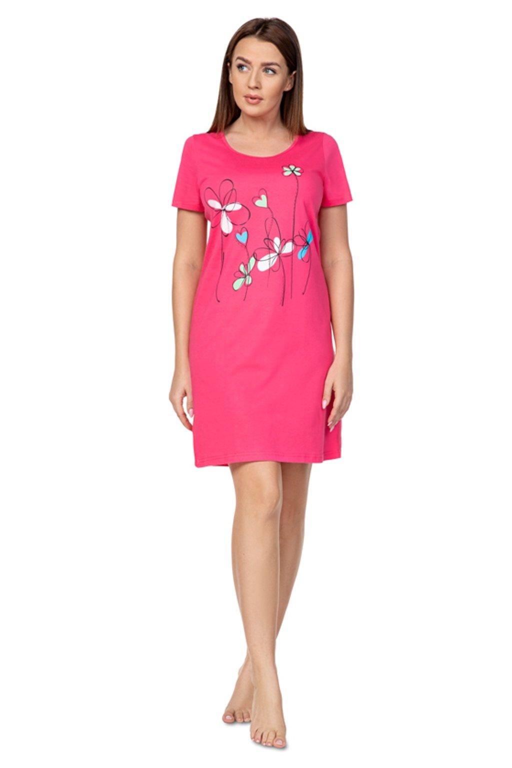 Dámská červená noční košile s krátkým rukávem Regina 383
