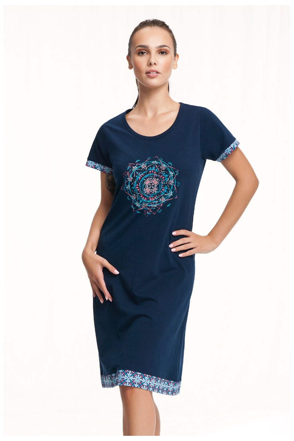Modrá dámská noční košile s krátkým rukávem Luna 298
