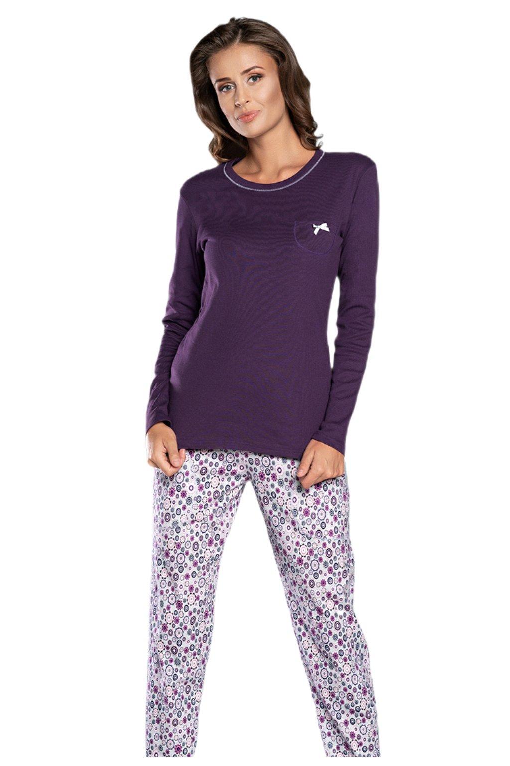 Dámské bavlněné pyžamo s dlouhým rukávem Italian Fashion Lira.