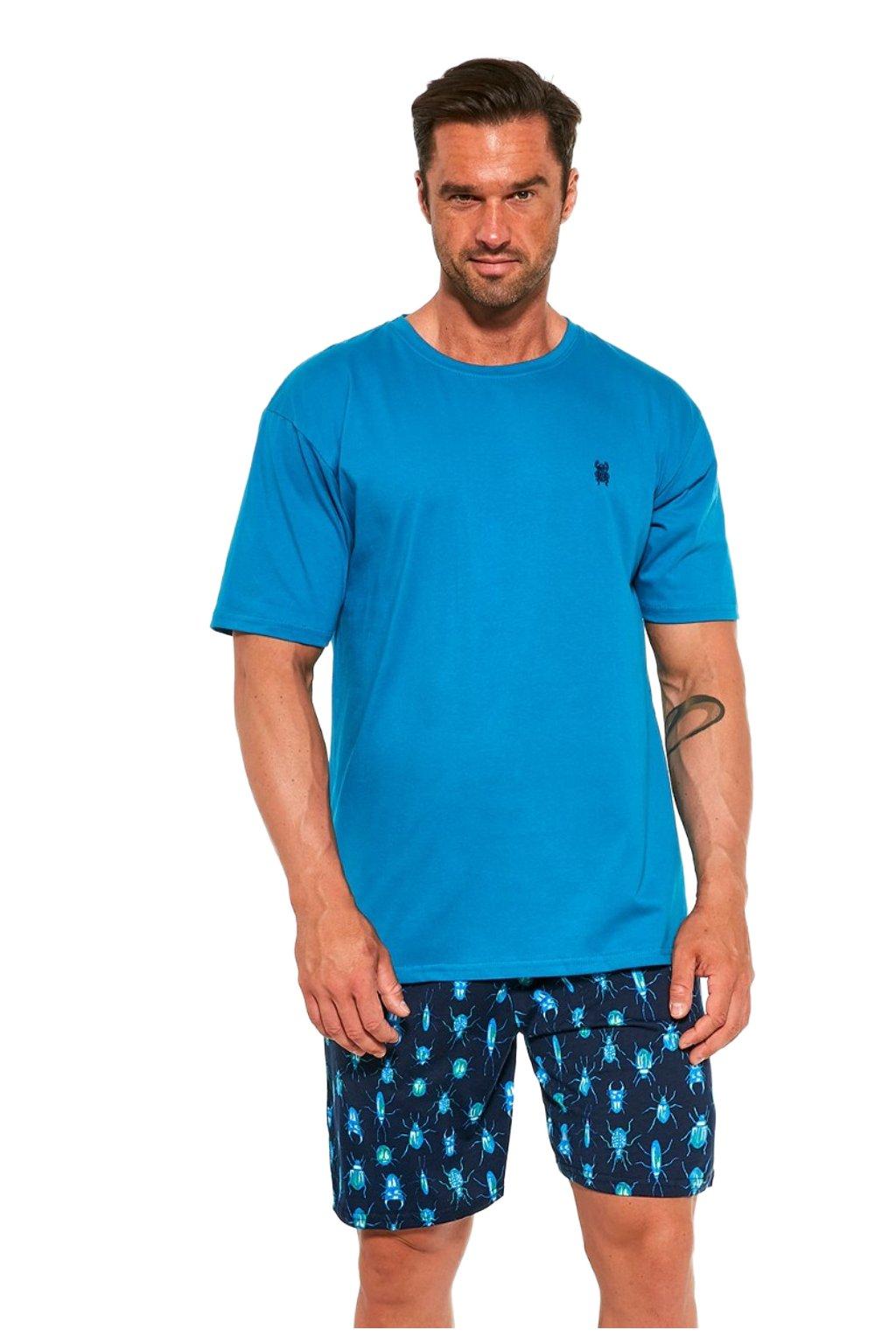 Pánské modré pyžamo krátké Cornette 326/193 Scarabeus