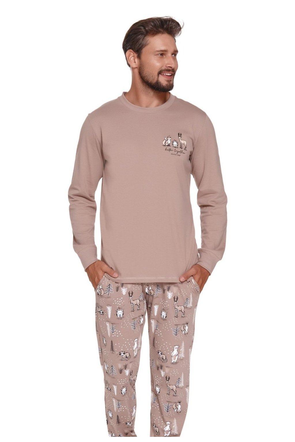 Pánské pyžamo dlouhé Doctor Nap 4329 beigePánské bavlněné pyžamo s dlouhým rukávem Doctor Nap 4329 beige.