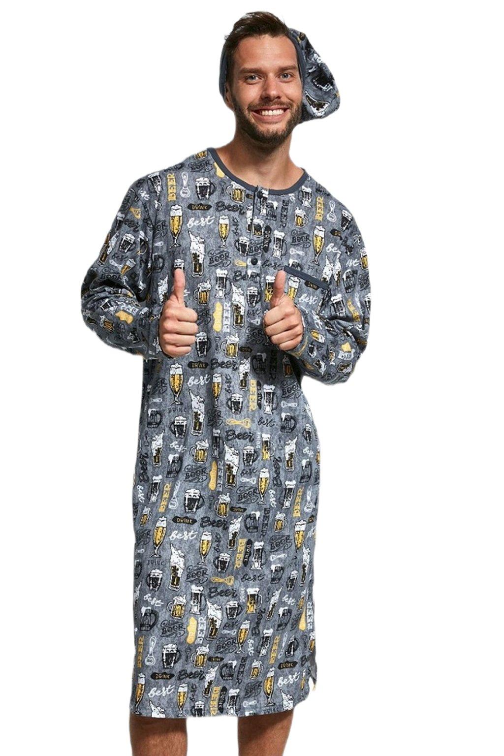 Pánská noční košile Cornette Beer 110 šedá