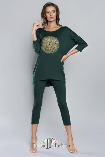 Dámské pyžamo Italian Fashion Mandala 3/4 khaki