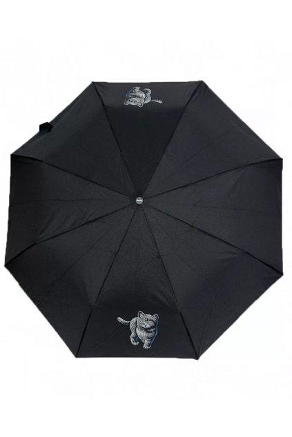 Dámský skládací deštník Mini Fiber Cat černý