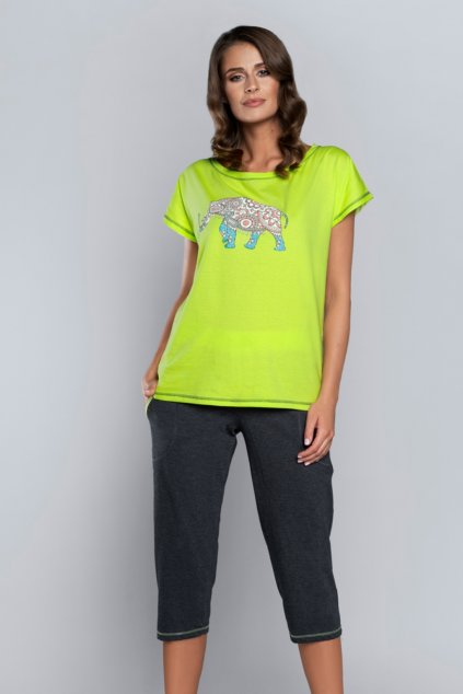 Dámské pyžamo Italian Fashion Kongo 3/4 limonka
