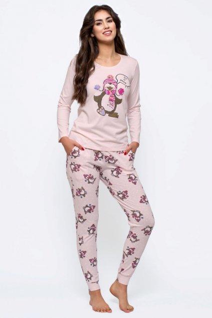 Dámské bavlněné pyžamo s dlouhým rukávem Leptir 154/03