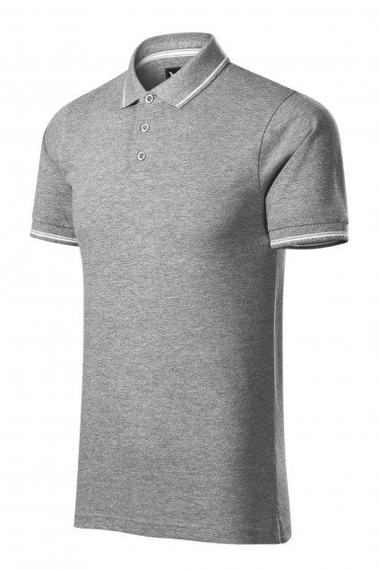 Pánské šedé triko s límečkem a krátkým rukávem
