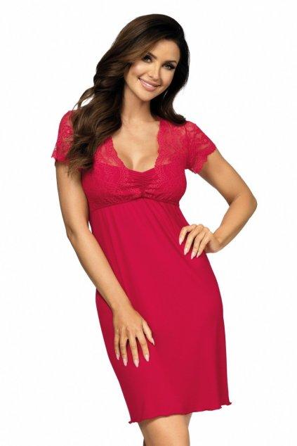 dámská červená krajková noční košilka s krajkou Donna Kasiya