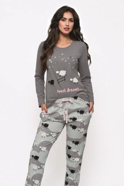 Dámské bavlněné pyžamo s dlouhým rukávem Leptir 164/01100 – kopie (4)