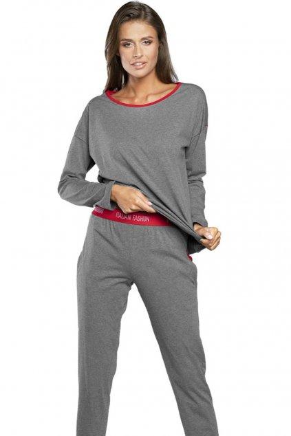 Dámské bavlněné pyžamo s dlouhým rukávem Italian Fashion Akcent
