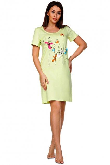 Dámská zelená noční košile s krátkým rukávem Regina 383